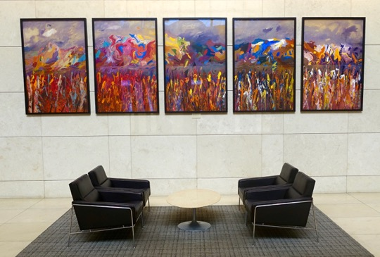 A Jack Shadbolt painting is just one of several original artworks by major Canadian artists (including Montreal's Riopelle) located in the lobby of Calgary's Eight Avenue Place.