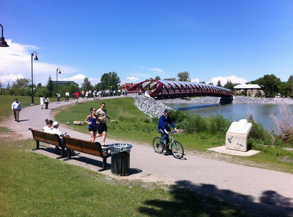 Calgarians love to get out and enjoy their 325 days of sunshine. Downtown's Calatrava Peace Bridge is a popular spot.