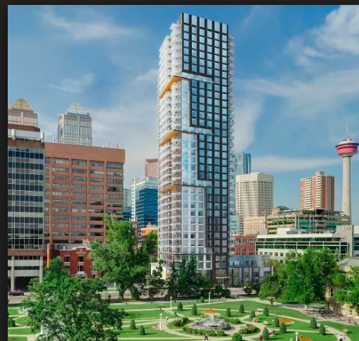 Park Point with Calgary's first park, Central Memorial Park as its front yard.