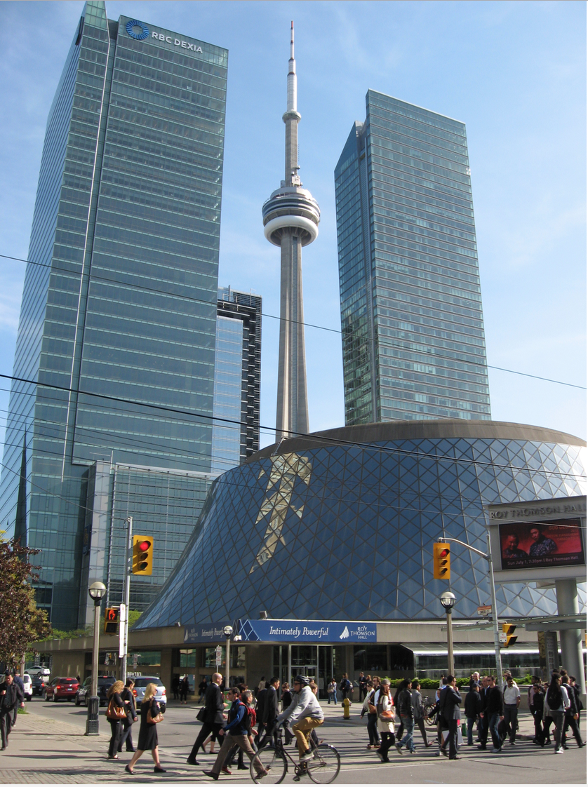 Toronto's Roy Thomson Hall in the foreground and CN Tower in the background.