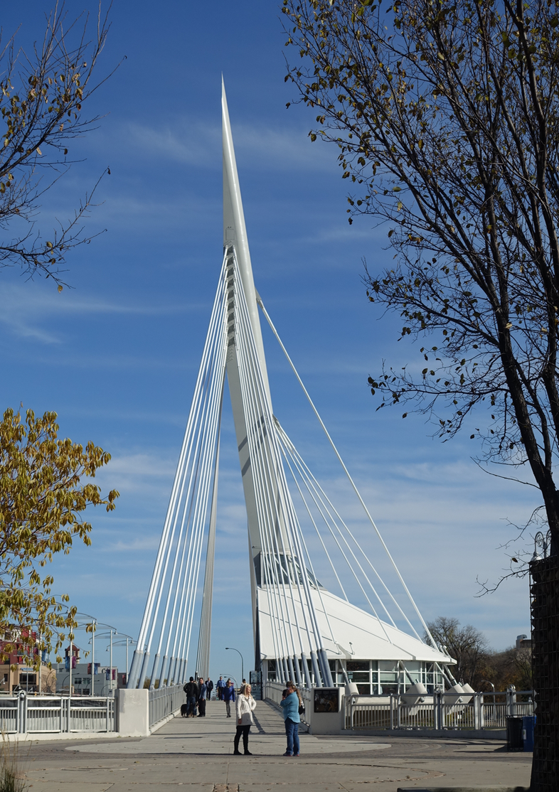 Esplande Riel bridge links The Forks with Winnipeg's historic french community of St. Bonaface with its St. Boniface Cathedral historical site.