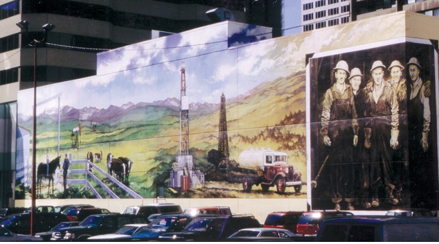 Turner Valley mural on the south side of the Petroleum Club building.