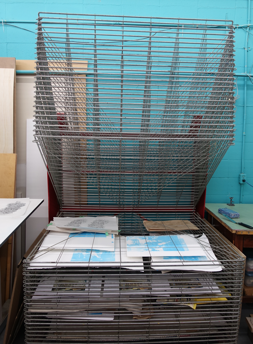 Drying rack at Alberta Printmaker's Studio.