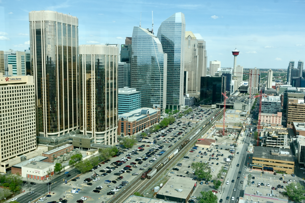 Downtown Calgary's central business district has one of the largest concentrations of office buildings in North America.