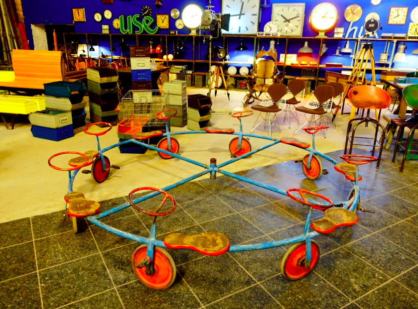 Found an amazing warehouse of vintage industrial artifacts and other fun things like this piece of playground equipment in an old nightclub building.  It was very cool.