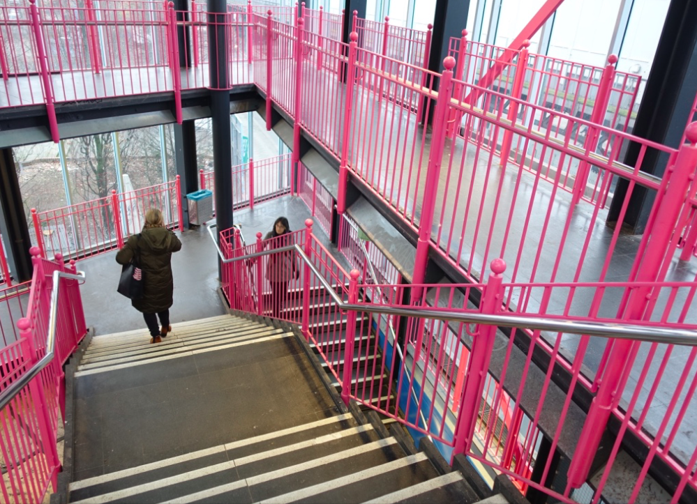Many of Berlin's subway and transit station employ bold colours like these candy floss stairs at the Prinzenstrabe Station.