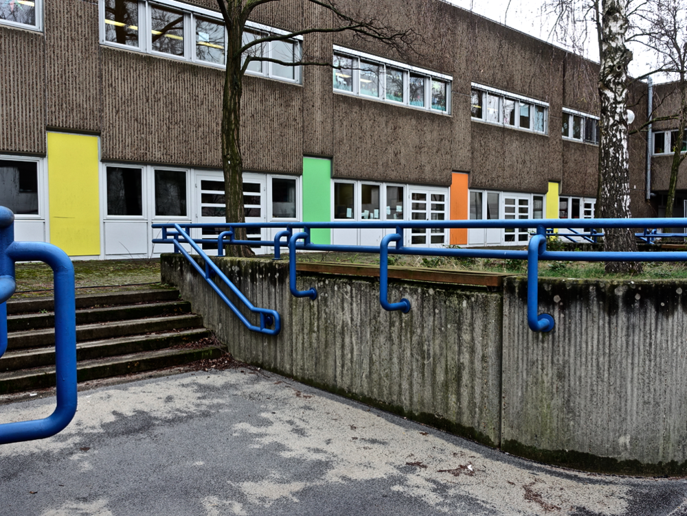 Subtle use of colour in a school yard.