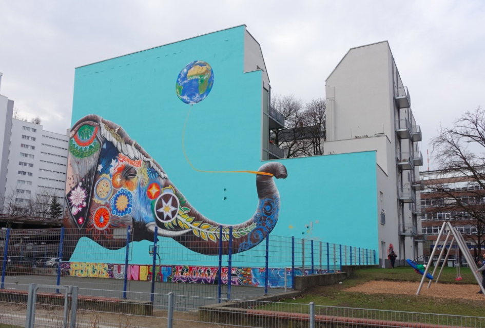 Bold use of colour and art in a public playground. Berlin is home to hundreds of colourful murals.