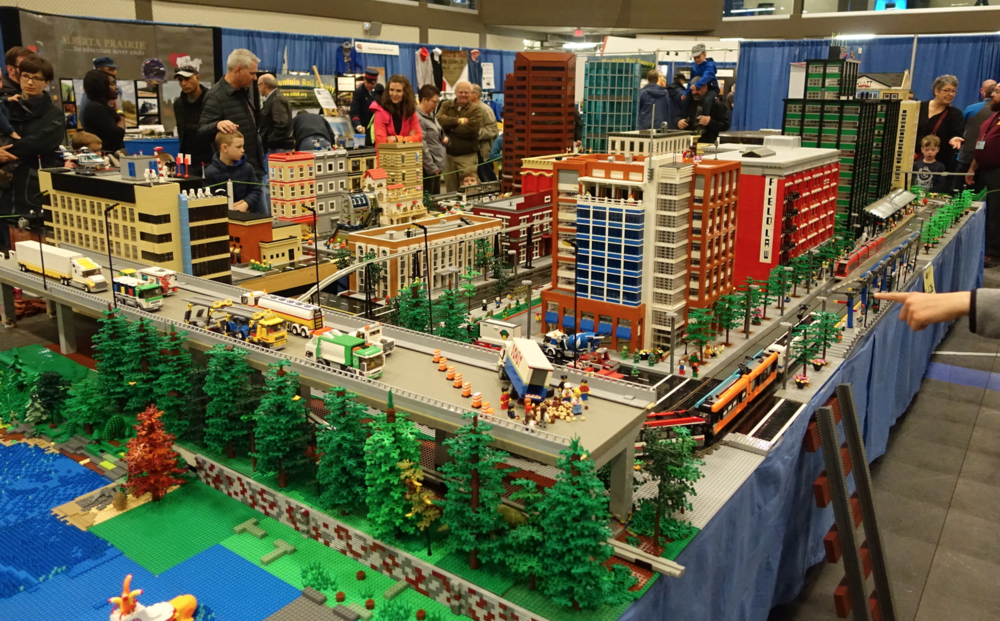 One of the highlights of the show was the model based on downtown Calgary made of lego.  I especially loved the use of colour.  The narratives and sense of humour in the models was outstanding.  Be sure to checkout the strange vignette section later in this blog.