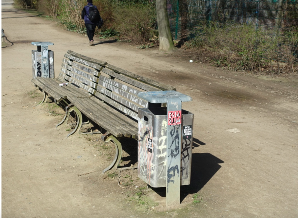 It is not uncommon to see benches and garbage cans like this along Kreuzberg's pathways and in their parks and playgrounds.