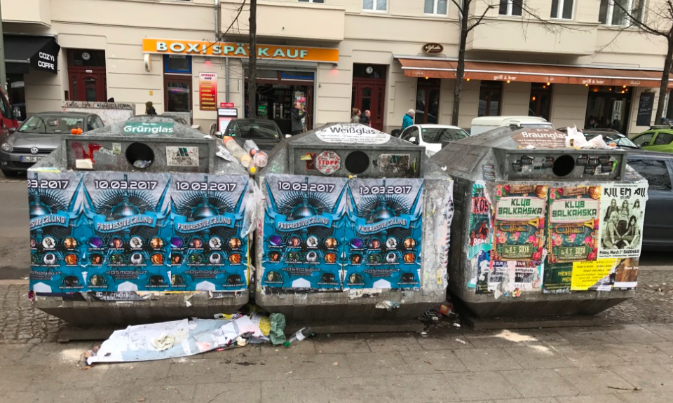 Recycling bins like these are common in Kreuzberg.