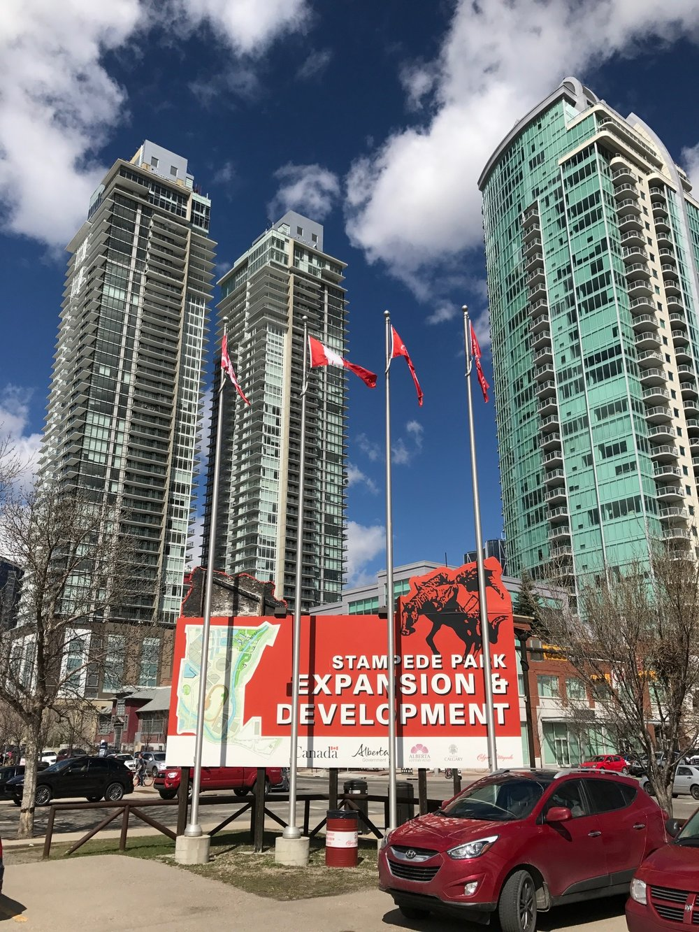 Arriva and Guardian condo towers were part of an ambitious plan for revitalization of East Victoria Park ten years ago. The Stampede Park Expansion & Development sign has been at the corner of 4th Street and 12th Ave SE for over 15 years.
