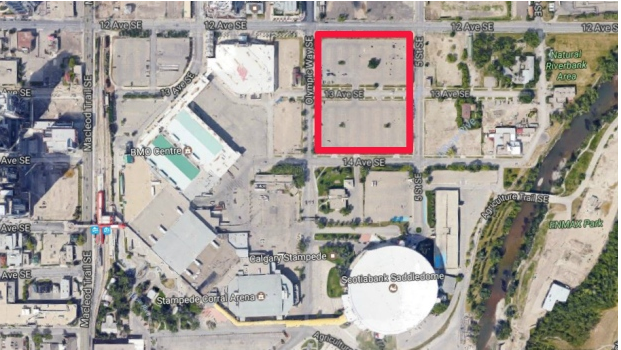 Proposed site of new arena is just a block north of the existing Saddledome and just east of the BMO Centre.  To the east of the site is the Stampede's Youth Campus which is under construction.
