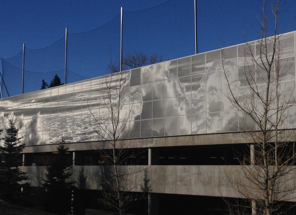 "SAIT Parkade's ever changing cloud mural titled ""The Ombrae Sky."""