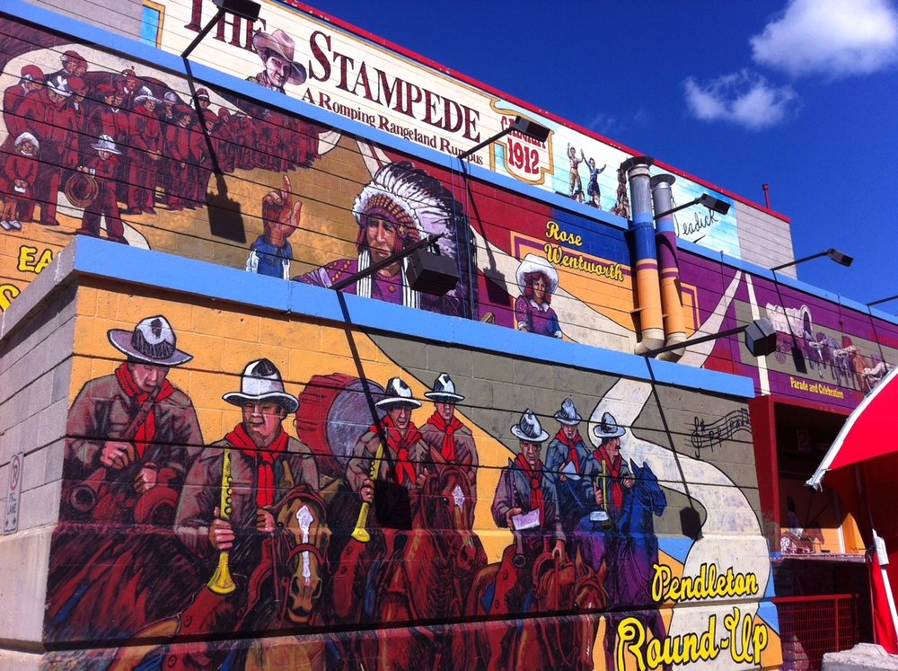 Just one of the many murals that grace the walls of several Stampede Park buildings. (link: Calgary Stampede Public Art)