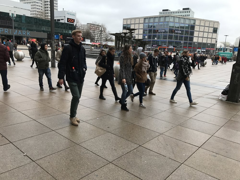 Alexander Platz is full of people at 10 am on a weekday even when there are no special events.