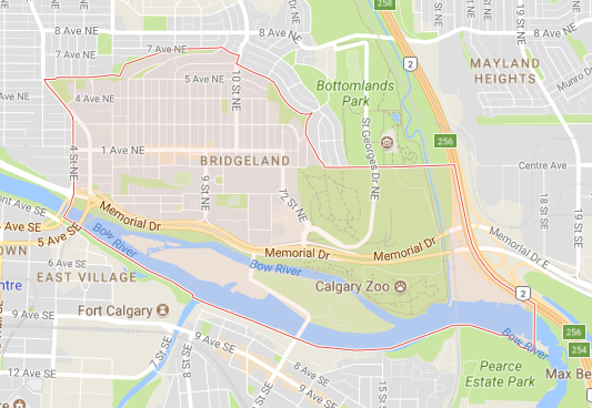 Note: Both St. Patrick's and St. George's Islands are within the boundaries of Bridgeland Riverside, not East Village and Inglewood as most people might think.