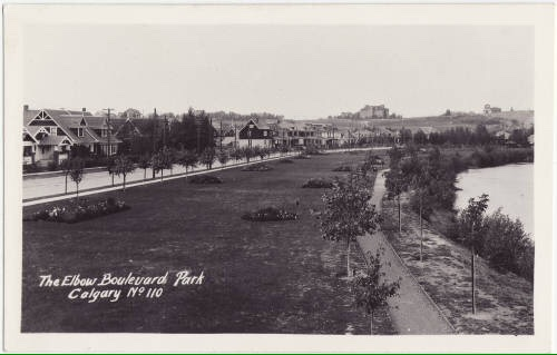 Found this old photo of the Elbow Boulevard Park along the Elbow River on the edge of Rideau Park. This is almost the same spot as the photo above.