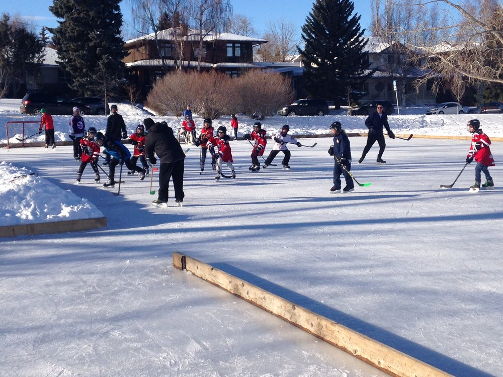 Calgary is made up of 200+ communities each with its own community centre, park, playground and most have an outdoor community hockey rink.