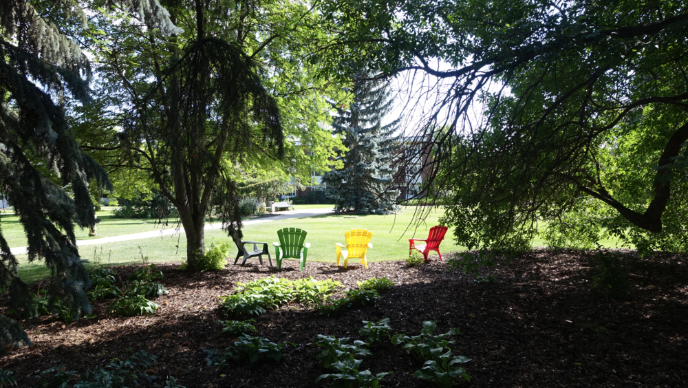 We loved these inviting colourful chairs strategically placed throughout Olds College campus.