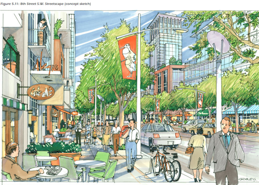 The West Village plan envisions mid and high-rise buildings with a mix of uses to create street vitality daytime and evenings, weekdays and weekends.