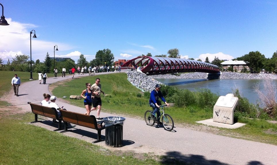 The Bow River pathway on the edge of downtown is a popular spot for walking, cycling and running weekdays and weekends.
