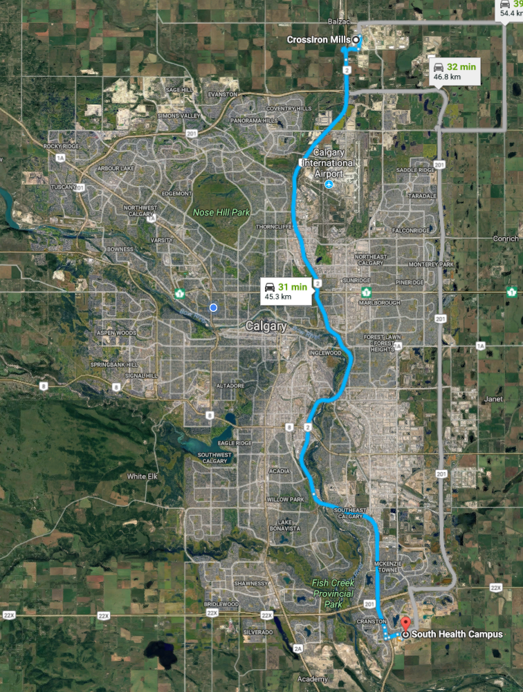Most of Calgary's residential development is west of Deerfoot Trail (blue line) while the land to the east has been mostly industrial, warehouse land until recently.