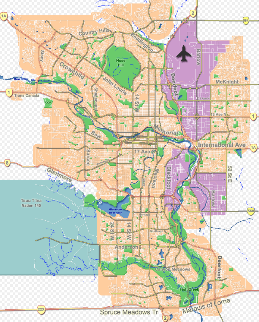This illustration clearly documents Calgary's three large industrial areas. The Blackfoot area is the oldest and was east of Macleod Trail which served as the divide in the mid 20th century.  However, in the late 20th century Deerfoot Trail became the dividing line with the development of NW aka Airport industrial lands and SE industrial area.