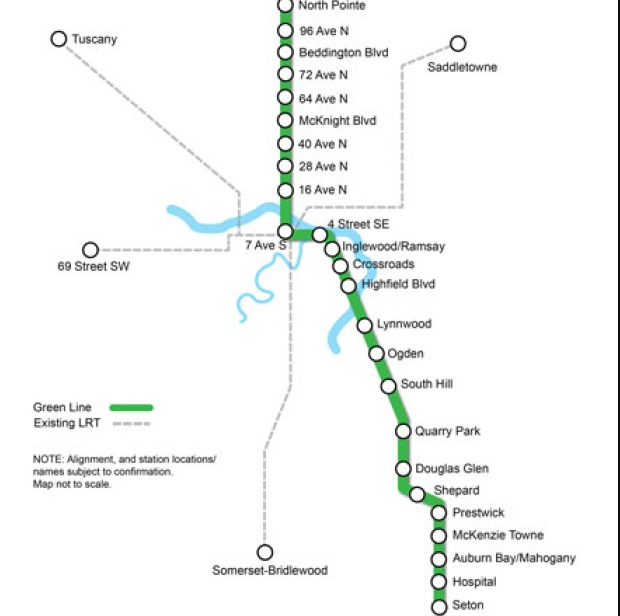 Calgary's Green Line will bring LRT transit to dozens of new communities.  It will reinforce downtown as Calgary's transit hub which will further enhance downtown's position as Calgary's premier economic and cultural hub.