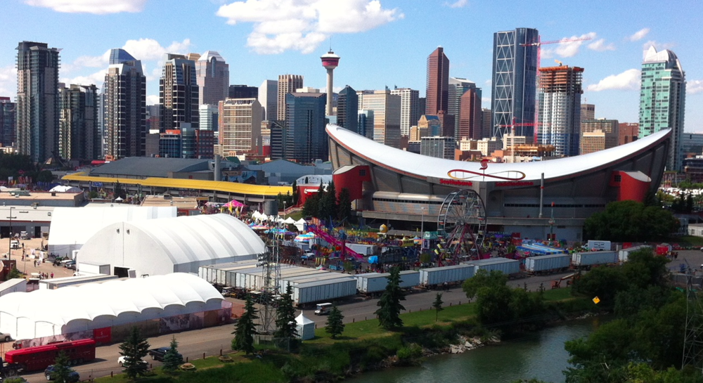Calgary's Stampede Park located at the southeast edge of the City Centre is not only the City's fairground but it is also home to the iconic Scotiabank Saddledome and the BMO Centre which hosts major trade shows and conventions.