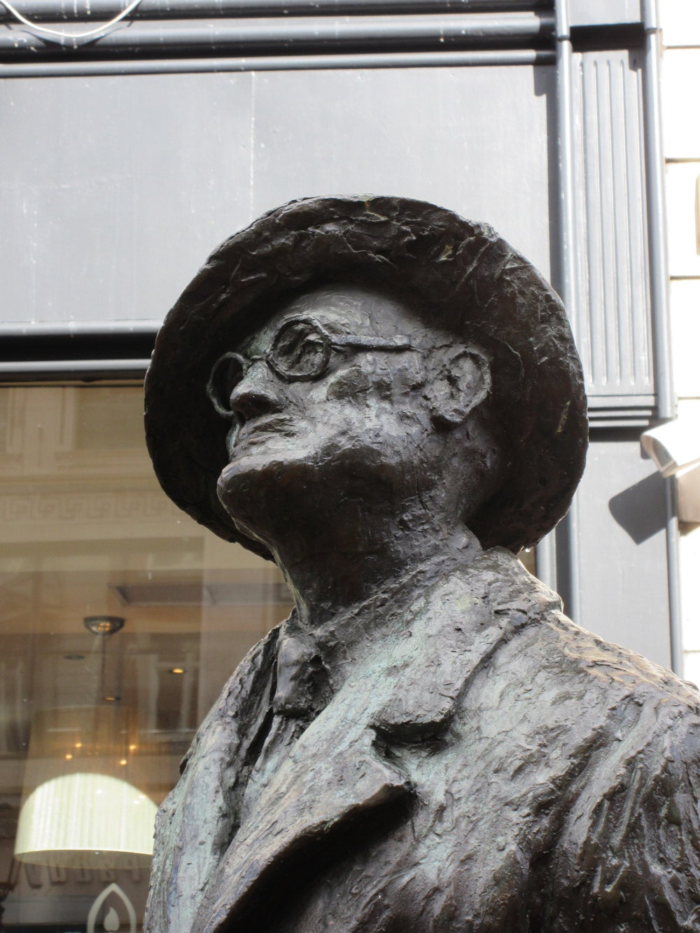 Detail of James Joyce statue.