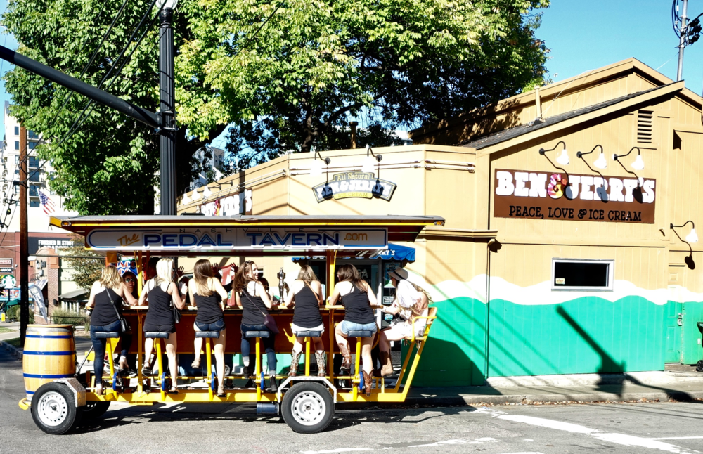 Pedal Taverns like this one are popular not only on Lower Broadway but throughout the City Centre.
