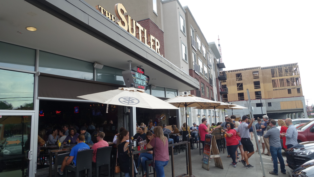 The Sutler is part of a cluster of restaurants that a buzzing on weekends at brunch. It is part of an emerging vintage/antique district along 8th Ave South.  Several new low-rise condos have recently been built or are under construction along 8th Ave South.