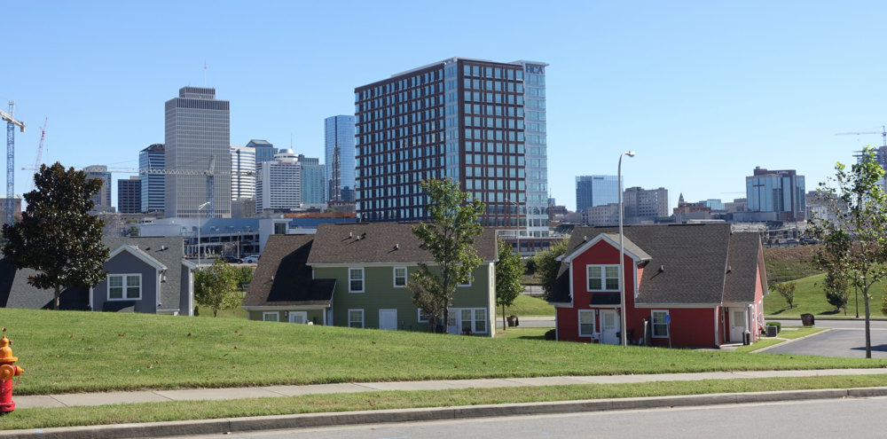 This is the Nashville infill project just off of Charolette Ave at 16th Ave. North with downtown in the background.