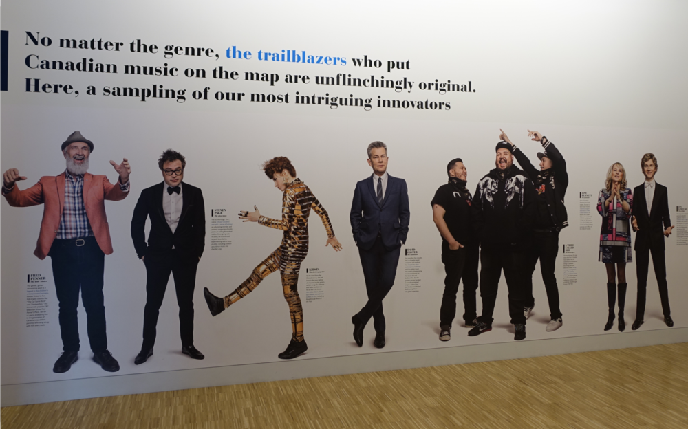"This exhibition of ""Trailbrazers"" looks like billboard. This would have been a great place for a video documenting the how Canadians have been music ""trailblazers"" for over a century."