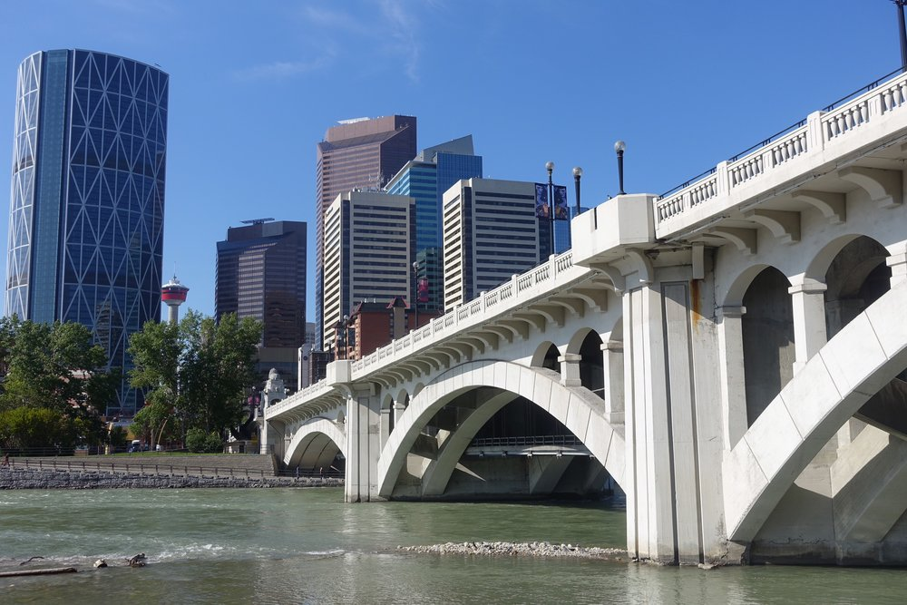 Centre Street Bridge accommodates both pedestrian and cars.