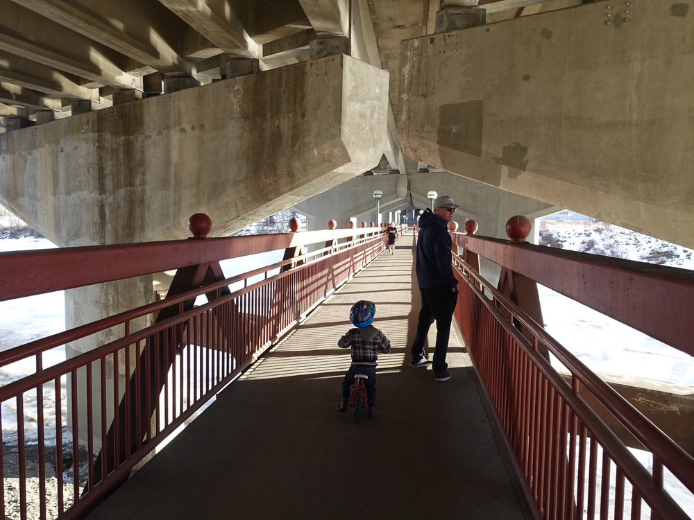 Dave Freeze bridge under Crowchild Trail (currently closed while Crowchild Trail Bridge above is been expanded.