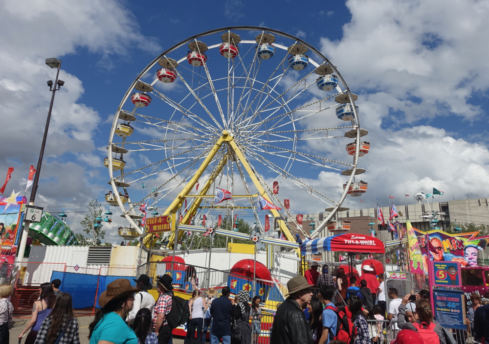 Stampede is seven festivals in one - Agricultural Exhibition, Indian Village, Rodeo, Chuckwagon Races, Grandstand Show, Midway and Music Festival.