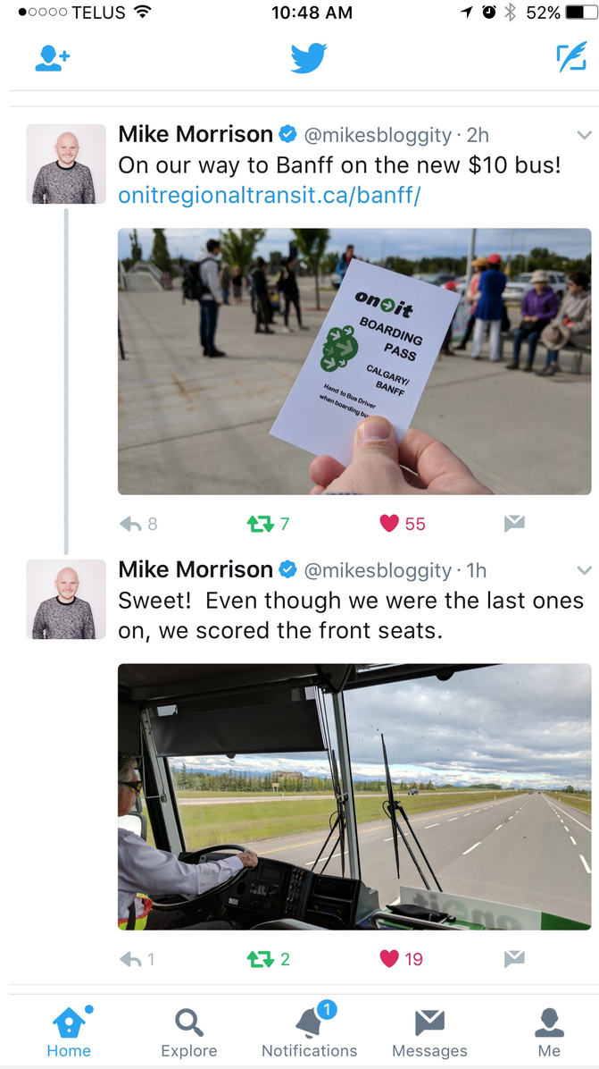 Mike was just one of the thousands of happy users who tweet out about how great it was to have weekend transit service to Banff and Canmore from Calgary.