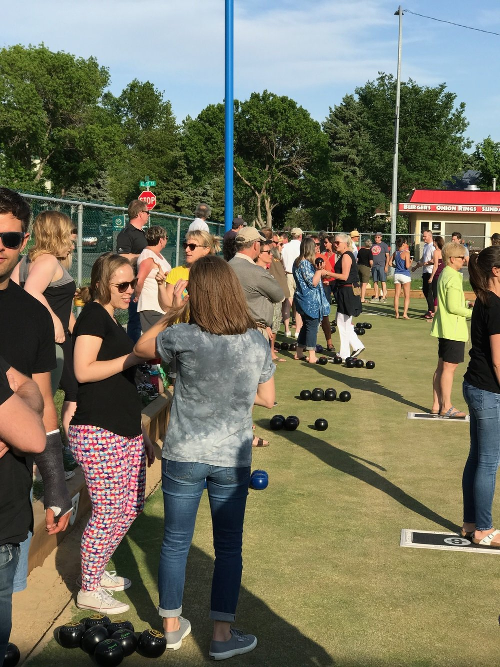 A typical summer evening of lawn bowling in Inglewood.