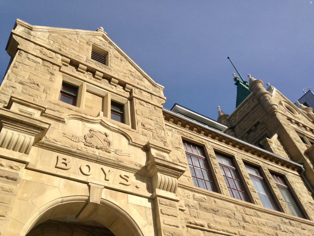 "Calgary is known as the ""Sandstone City"" for its many early 20th Century sandstone churches, schools and library, many of which are located in the Beltline. Calgary Collegiate Institute was built in 1908 (903 13th Ave SW)."