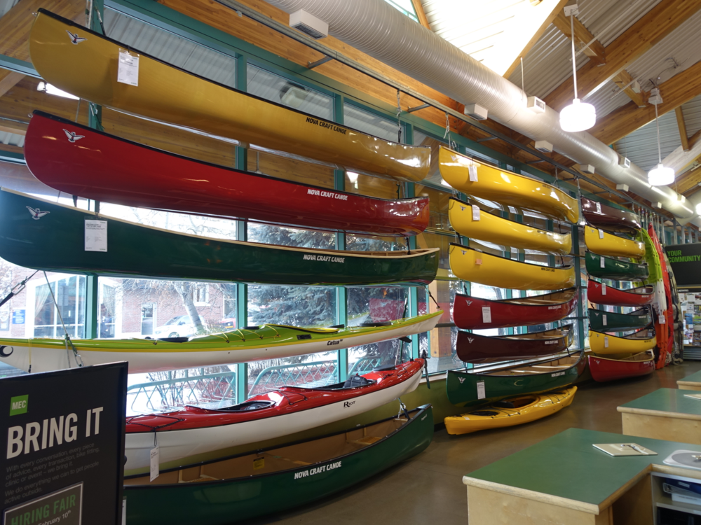 MEC'  s colourful display of canoes in the front window is very cool.