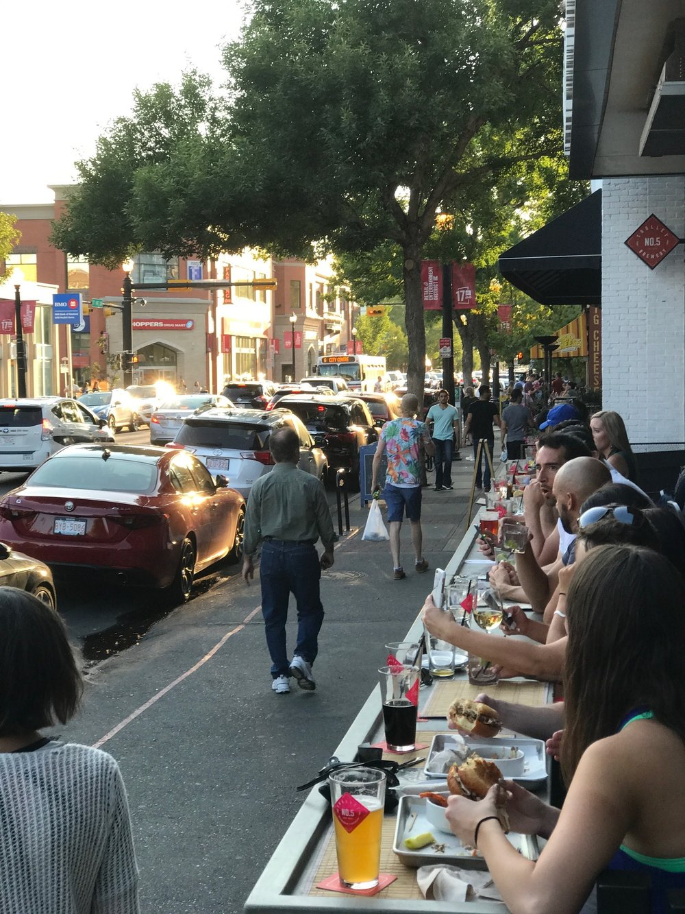 17th Avenue becomes a beer garden in the summer with its numerous patios.