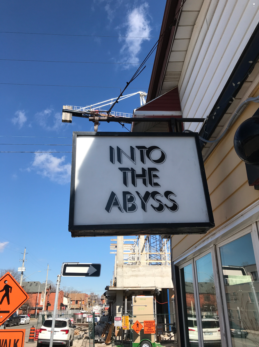 There should be awards for stores with the best names and signage. Into the Abyss is a record store on Locke Street.