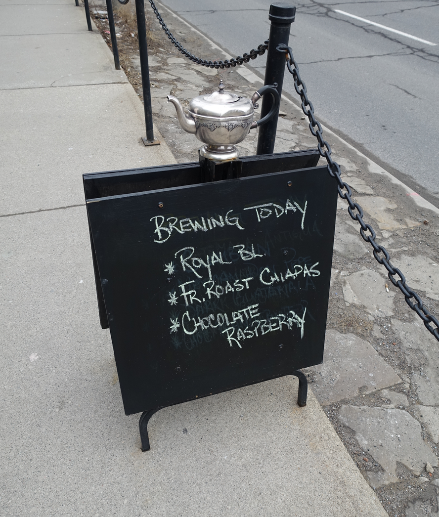 Fun sandwich boards are a great way to enhance the pedestrian experience. Kudos to House of Java on James St. S.