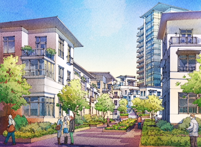 Artist's rendering of one of the 15 mews that will make Currie a pedestrian paradise.