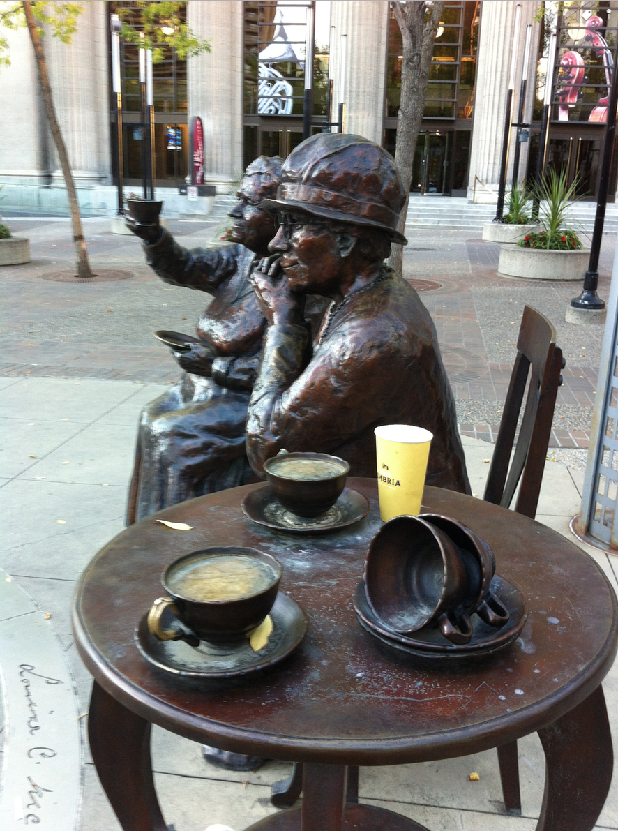 Tea Time in downtown takes on a different meaning at the Famous Five sculpture.