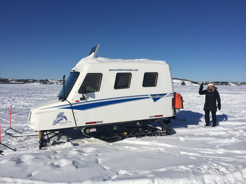 The unique sno-bear mobile ice fishing machine.