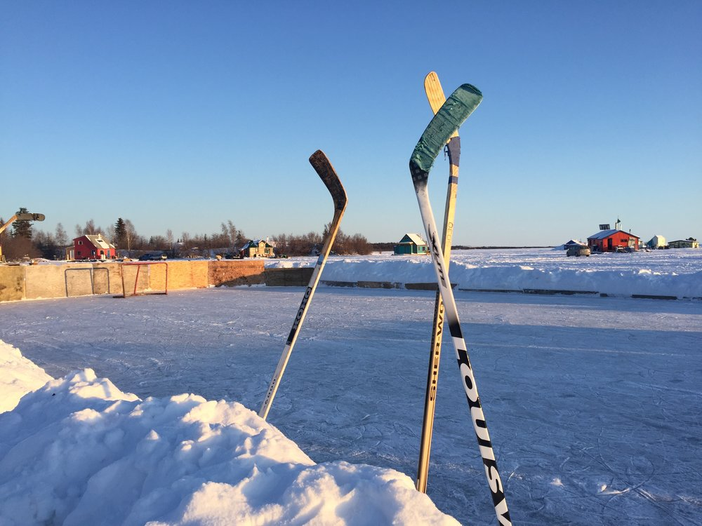 Hockey rink developed and maintained by the houseboat community.