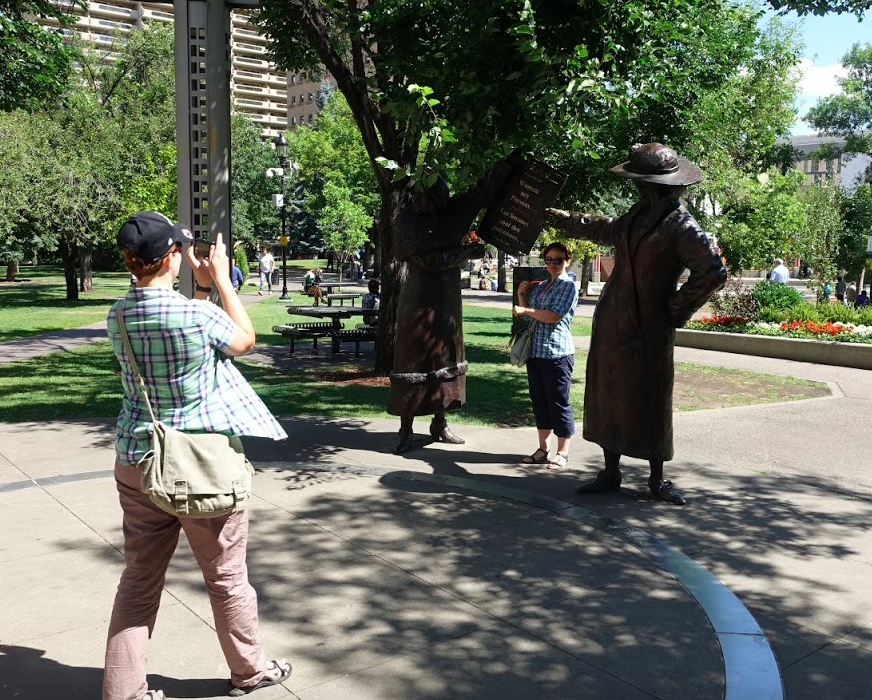 The Famous Five sculptures on Olympic Plaza is a popular place to stop and take a photo.